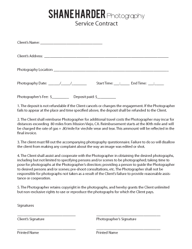 Photography contracts free printable documents for Photographer contracts templates