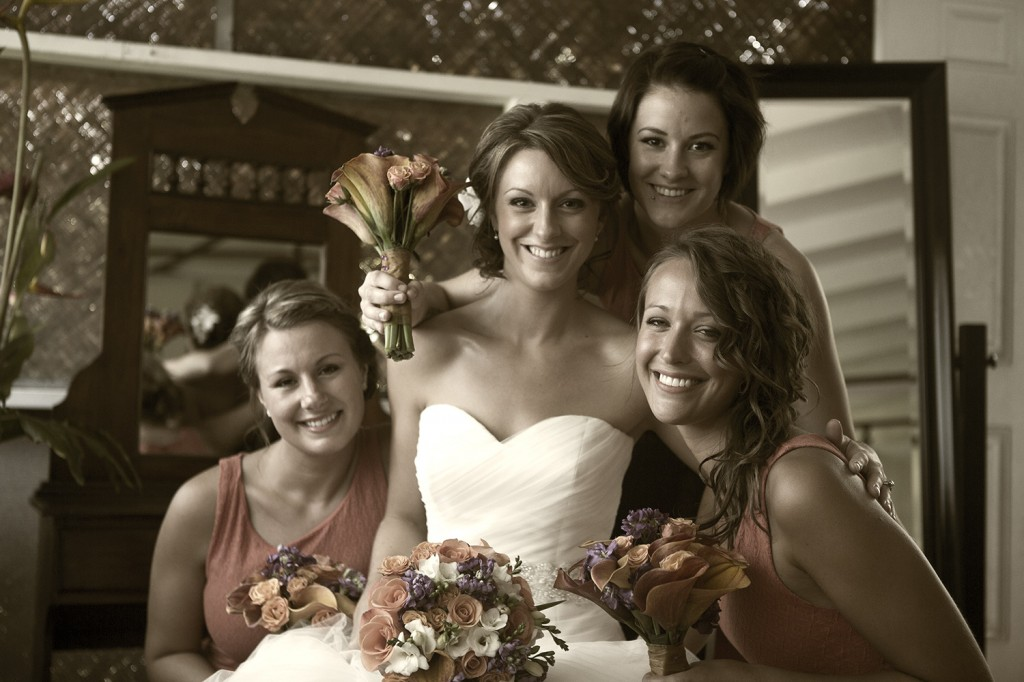 Bride with brides maids